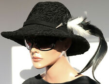 Pelz Hut Damen Persianer Trachten Fell Feder Lammfell Mütze Schwarz Vintage Mode