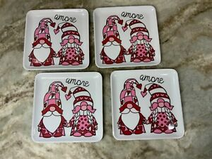 Melamine 6 Inch Square Dessert Plates. Set Of 4. Amore Gnomes And Hearts. New.