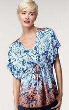 CABI 891 Large L Hippie Tunic Blue Orange Ombre Short Sleeve Blouse Shirt Top