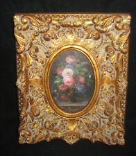 Hollywood Regency Decor Floral Painting In Gold Gilt Frame Antique