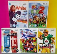 Nintendo Wii & Wii U 5 Sports Games Madden Skate It MLB Golf Shaun Snowboarding