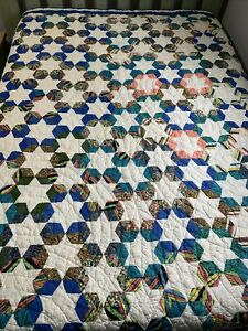 Vintage Quilt Tumbling Blocks Star 67x80 Hand Quilted