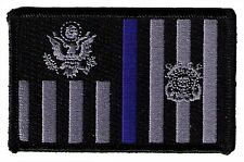 IRON-ON Coast Guard ensign 3.5x2.3 black /gray with blue line W5522H USCG patch