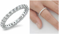 Sterling Silver 925 STACKABLE ETERNITY DESIGN CLEAR CZ BAND 3MM RING SIZES 4-10