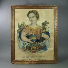 19th Century French Religious Lithograph Print C1840 Shabby Chic Salvador Mundi