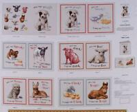 "Elizabeth's Studio Farm Animals Who says Woof 100% cotton Fabric panel 35"" x 43"""