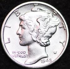 1942-D AU MERCURY DIME / DENVER MINT ALMOST UNCIRCULATED 90% SILVER COIN