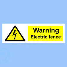 Warning Electric Fence - Self Adhesive Sticker, Safety Sign - 300 x 100mm