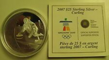 2007 Proof $25 2010 Vancouver Olympics #1-Curling Canada COIN&COA ONLY .925 silv