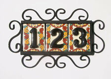 3 BLACK Mexican Tiles House Numbers High Relief & Horizontal Frame