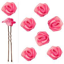 6 épingles pics cheveux chignon mariage mariée danse fleur satin rose vif pétant