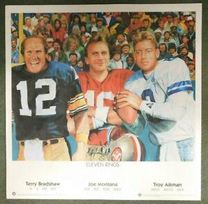 Terry Bardshaw, Joe Montana & Troy Aikman Eleven Rings 25x25 Upper Deck Litho