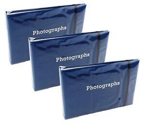 "3 x Slip In Photo Album Photography Storage Holds 72 6""x4""(10x15cm) Photos BLUE"