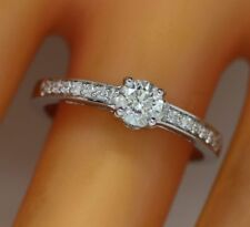 0.53 ct solitaire real diamond engagement  ring 18k  white gold wedding rings