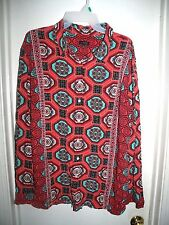 Talbots Multi-Color Geometric Rayon L/S Button Front Top XL