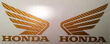 Carbon Gold, Weiß, Schwarz Honda Flügel Motorsport  Tank Aufkleber für Motorrad