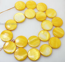 """20mm gold/yellow mother of pearl shell coin loose gemstone strand 15""""long"""