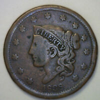 1838 Matron Large Cent Copper US Type Coin One-Cent Fine Coronet Variety