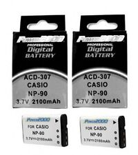2 NP-90 NP-90DBA Batteries for Casio EX-FH100 EX-FH100BK EX-H10 EX-H15 EX-H20