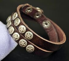 Cool Double-Wrap Stars Studded Genuine Leather Bracelet Wristband Cuff Brown