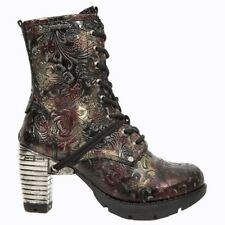Zip High Heel (3 in. and Up) Leather Floral Boots for Women