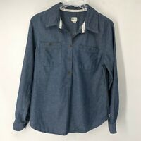 Toms for Target Popover Chambray Top Shirt Blouse Blue White M Medium