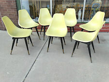 Mid Century Modern Fiberglass Shell chair with wood base & legs 7 available