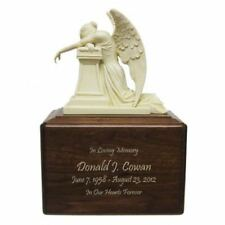 Large/Adult 200 Cubic Inches Crying Angel Wood Funeral Cremation Urn for Ashes