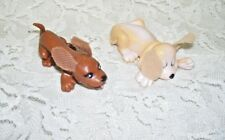 Vintage Miniature Pound Puppies Figures with cloth lop ears Set of Two