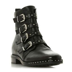Genuine Dune Womens Black Leather Pixxel Stud Detail Biker Boots