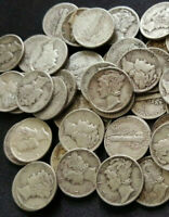 Lot of (5) Mercury Dimes (1916-1945)  Circulated 90% Silver, Choose How Many!