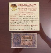 BIGLIETTO DI STATO LIRE 10 UMBERTO I 6 8 1889 R4 ESTREMAMENTE RARA DELL' ARA PIA