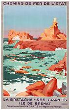 Affiche chemin de fer Etat - Bretagne Ile de Bréhat