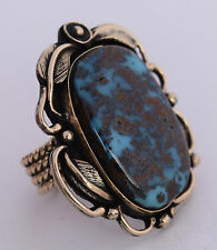 HUGE Taos Pueblo sterling & 14k Gold A+ grade Bisbee Turquoise ring by Doug Nava