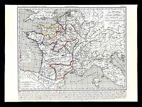 1849 Houze Map France Philippe I 996-1108 Paris Aquitaine Brittany Flanders