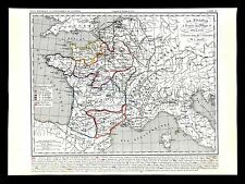 1849 Houze Map France Philippe I 996-1108 Paris Aquitaine Brittany Flanders