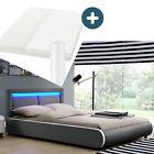 Polsterbett Einzelbett Komplett Set Matratze LED dunkel-grau 140x200 cm Juskys® günstig