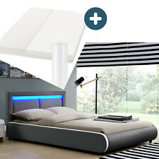 Polsterbett Einzelbett Komplett Set Matratze LED dunkel-grau 140x200 cm ArtLife®