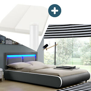 Polsterbett Einzelbett Komplett Set Matratze LED dunkel-grau 140x200 cm Juskys®
