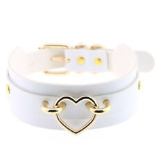 Lady's Punk Gothic Choker Wide PU Leather Collar Necklace With Heart Ring Gifts