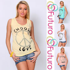 Ladies Casual Vest Top PEACE SIGN Sleeveless 100% Cotton T-Shirt Sizes 8-14 FB66