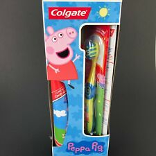 NEW Colgate Peppa Pig GIFT SET 2 Manual Toothbrushes Anticavity Toothpaste 4.6oz