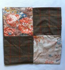 VINTAGE Floral And Tweed Fabric RETRO  PATCHWORK CUSHION  Boho  SHABBY chic