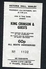 1971 King Crimson Concert Ticket Stub Hanley UK  Robert Fripp Islands