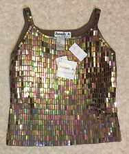 NWT 55% Off! Joseph A. Size Large Silk Blend Metallic Sequined Sable Brown Top