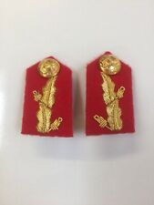 Gorget Patch-Army Gold On Red Major General  Clip On No 7 Dress