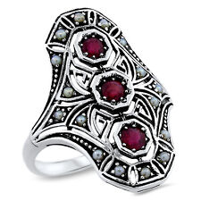 GENUINE RUBY .925 STERLING VINTAGE ART DECO DESIGN SILVER RING SIZE 8,     #755