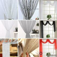 Luxury Pair Panels Of Voile Slot Lined Net & Voile Curtain With Tie Back