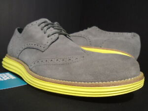 COLE HAAN LUNARGRAND WING TIP CHARCOAL GREY SUEDE YELLOW ZEROGRAND C10226 9.5