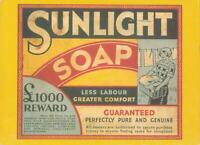 1985 SUNLIGHT SOAP LESS LABOUR GREATER COMFORT ADVERTISING POSTCARD - UNUSED